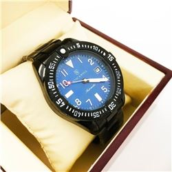 Men's STOCKWELL Automatic Watch, Blue Dial, Black Stainless Steel Strap.