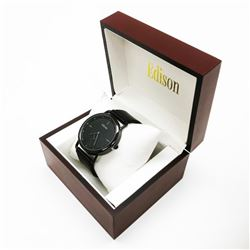 Edison Midnight Black Gloss Finish & Genuine Leather Band Watch