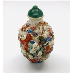 18th Century Qianlong Dynasty Tenth Child Hand Painted Porcelain Snuff Bottle.