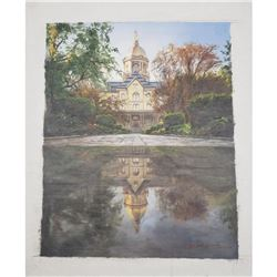 Original Commemorative Oil Painting Of Notre Dame's Main Building Signed By R. Bellissima