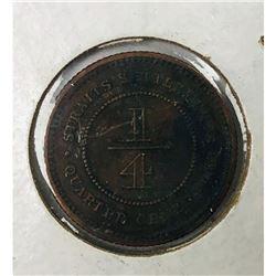 1916 Straits Settlements 1/4 Cent