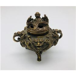 Asian 3 Footed Marked Dragon Incense Burner with Dual Dragon Lid
