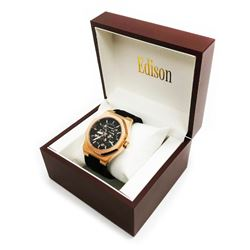 Mens Edison Brushed Copper Finish & Black Rubber Band Skeleton Watch