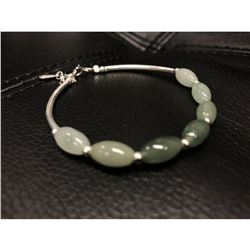 925 Sterling Silver Natural Oval Green Jade Bangle.Â