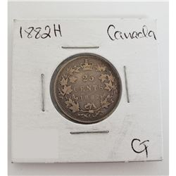 25 cents Canadian 1882 - H