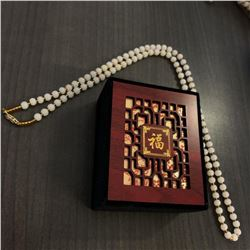 Asian White Jade Necklace With 14k Gold Plated Clasp which comes with a Chinese Window Shade Box.