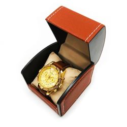 Mens L.A Banus Yellow Gold & Genuine Leather Band Chronograph Watch