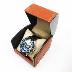 Mens L.A Banus Chrome Navy Blue Chronograph Genuine Leather Band Watch