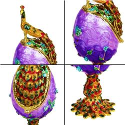 Faberge Egg Peacock Trinket Box Hinged Jewelry Collectible Figurine Ring