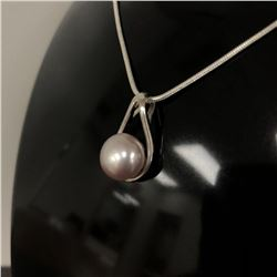 Pearl Mounted Pendant On 925 Snake Link Necklace