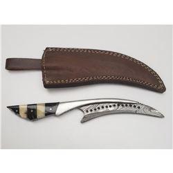 Damascus Full Tang Talon Blade With Carved Alabaster Handle And Stitched Leather Sheath