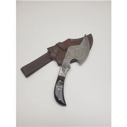 Wood And Steel Damascus Hatchet Full Tang