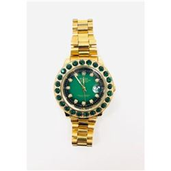 Mens Inspired by Rolex Emerald And Gold Colored Watch With Chain Link Band