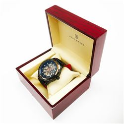Men's Stockwell Automatic RACING Watch With Genuine Leather Strap & Gift Box