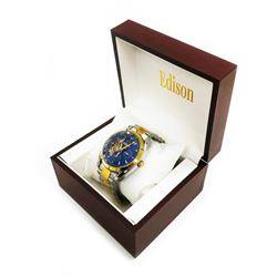 Mens Edison Ocean Blue & Gold Gloss Finish with Stainless Steel Link