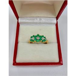 Detailed Ladies Size 7, 10k Gold, Emerald and Diamond Ring