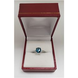 Blue CZ Apatite Gem Stone Mounted On 925 Sterling Silver Ring