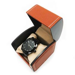 Mens L.A Banus Midnight Black Gloss Finish & Genuine Leather Band Watch