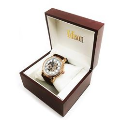 Mens Edison Rose Gold Gloss Finish & Genuine Leather Band Skeleton Watch