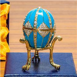 Crystal Rhombus on Blue Enamel Royal Inspired Russian Egg
