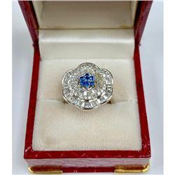 Lovely Custom Desinged Ladies Blue Citrine & Crystal Sterling Silver Ring
