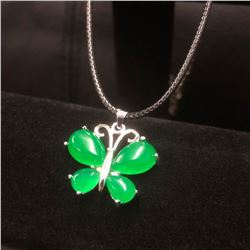 Asian Green Jade Butterfly Pendant Accompanied By 925 Sterling Silver Necklace