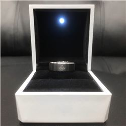 Men's Titanium Steel Black And Silver Ring