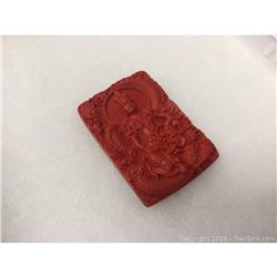 Natural Red Cinnabar Chinese Dragon Carved Pendant