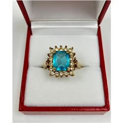 Elegant Ladies 1/2 Carat Ocean Blue Citrine With 10K Gold Ring Mount