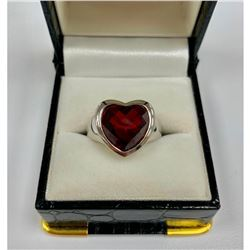 SG Marked - Cute Ladies Size 7 Garnet, Sterling Silver Ring