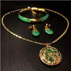 Green Jade Dragon Phoenix Necklace Earrings & Bracelet Set