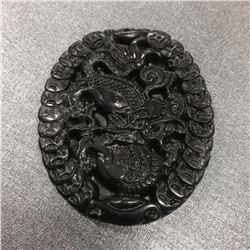 Asian Green Finely Carved Dragon Medallion