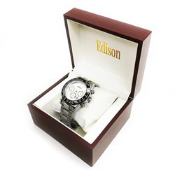 Edison Stainless Steel Gloss Finish & Stainless Steel Link Chronograph Watch