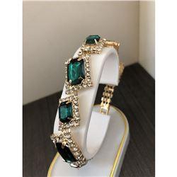 Ladies Gold Square Emerald Rhinestone Bracelet