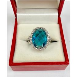 Beautiful Ladies 7.73 Carat Citrine Sterling Silver Ring
