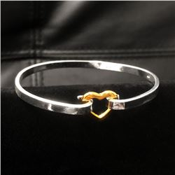 Ladies Sterling Silver Plated Heart Clasp Bracelet