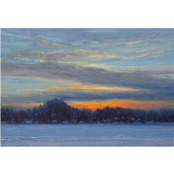 "Norman R. Brown Original Oil On Panel ""Frozen Lake"" 8"" x 10"""