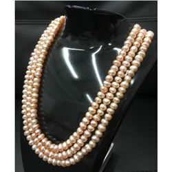 240+ Pearls Triple Strand Akoya Pink Pearl Necklace With S925 Custom Clasp