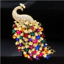 Large Royal Multi-Color Jewel Peacock Broach