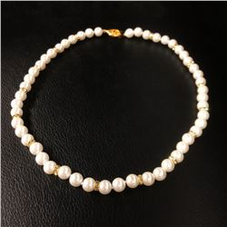White Akoya Shell Pearl Necklace 49 Pearls In Total