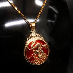 Chinese Carved Red Jade In Gold Dragon Mount