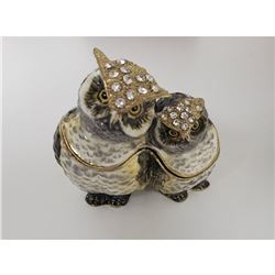 Mother and Baby Owl Trinket Jewelry Box Crystal Jeweled Ornament Collectible