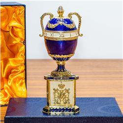 "1895 Blue Serpent Clock Royal Russian Egg 7"""