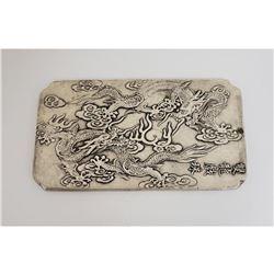 Asian Tibetan Silver Two Flying Dragons Bullion Bar
