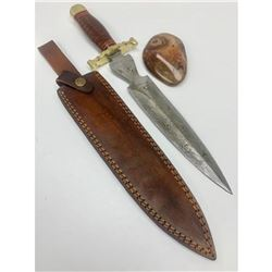 """15 1/2"""" Brass & Wooden Handled Damascus Shive Sword With Stitched Leather Sheath"""