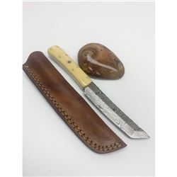 """8 1/2"""" Inlaid Bone Handle Damascus Shive With Stitched"""