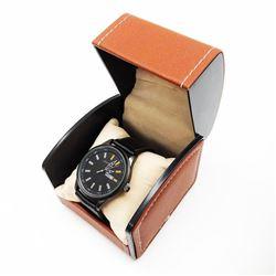 Mens L.A Banus Midnight Black Matte Finish Genuine Leather Band Watch