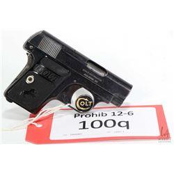 Prohib 12-6 handgun Colt model 1908 Vest Pckt Hammerless, .25 auto six shot semi automatic, w/ bbl l