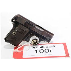 Prohib 12-6 handgun Colt model Vest Pocket Hammerless, .25 auto six shot semi automatic, w/ bbl leng