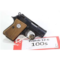 Prohib 12-6 handgun Colt model Junior Colt, .22 Short seven shot semi automatic, w/ bbl length 57mm